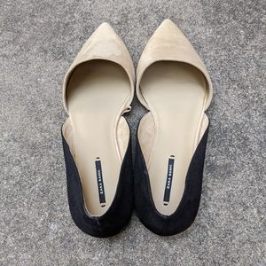 NEW Zara Colorblock D'Orsay Black/Beige Flats 10